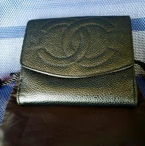 100 % Authentic Chanel Black Caviar Wallet